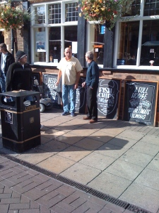Ill-dressed midlife men hanging out in South Yorkshire town