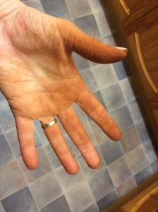 Fruit stained hands