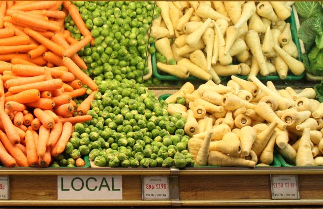 Local grown British vegetables in a family owned greengrocers shop