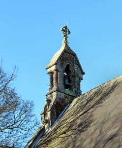 The bell tower at Ludford Church