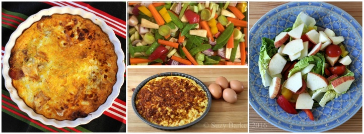 Crustless pastry-free quiche with salad or roasted vegetables