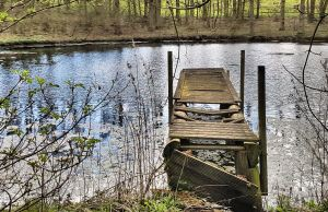 Hidden lake and broken jetty, Lincolnshire Wolds