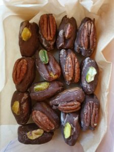 Handmade marzipan stuffed dates